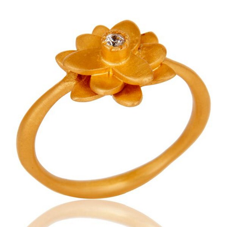18k Gold Plated Flower Design Handmade Brass Ring with White Zircon
