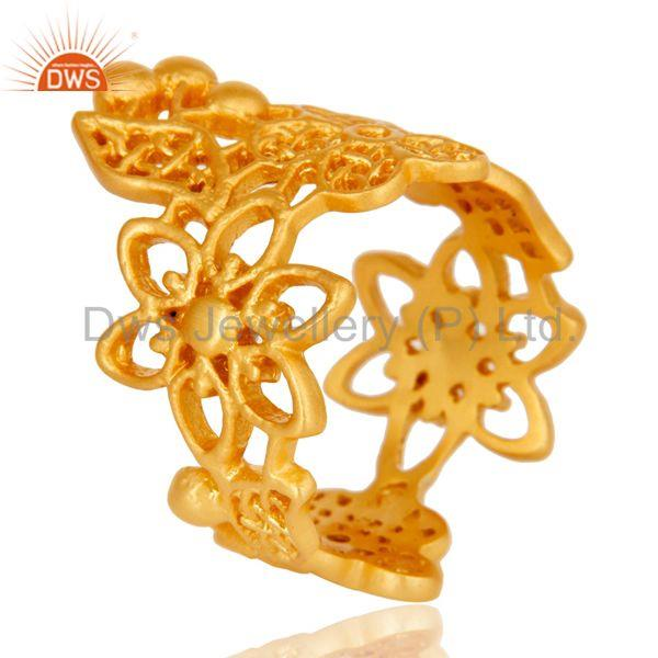 Fine Flower Design Handmade Brass Ring with 18k Gold Plated