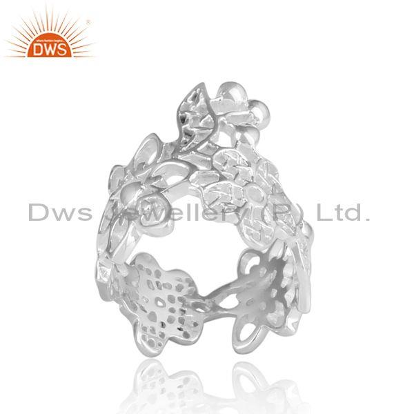 Handmade Fine 925 Sterling Silver Floral Statement Band Ring