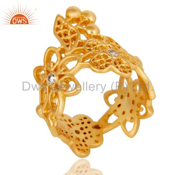 Traditional Handmade 18K Gold Plated White Zirconia Filigree Jewellery Ring