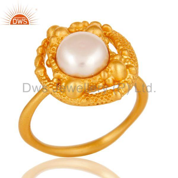 18k Gold Plated Traditional Handmade Brass Ring with Pearl