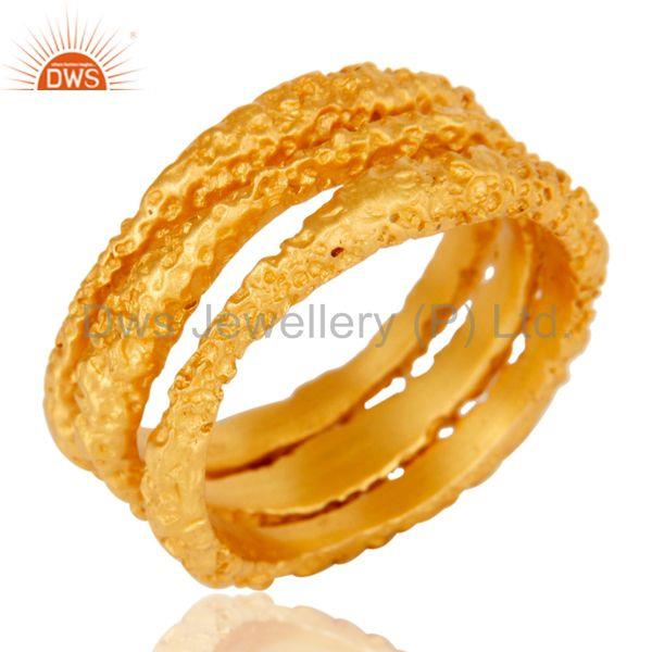 18k Gold Plated Handmade Simple Three Set Brass Ring