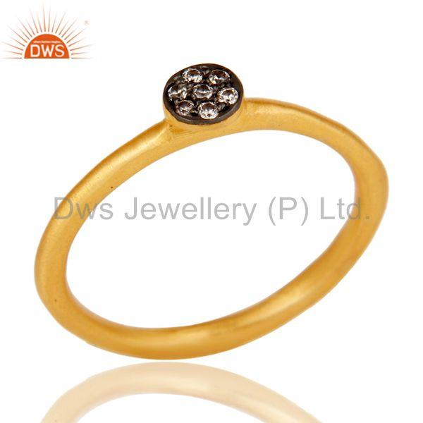 Fine Little Handmade Brass Ring with 18k Gold Plated & Cubic Zarconia