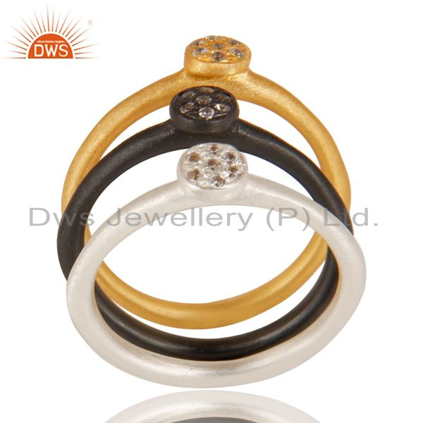 White Zircon Gemstone Multi Color Plated Brass Fashion Three Ring Set