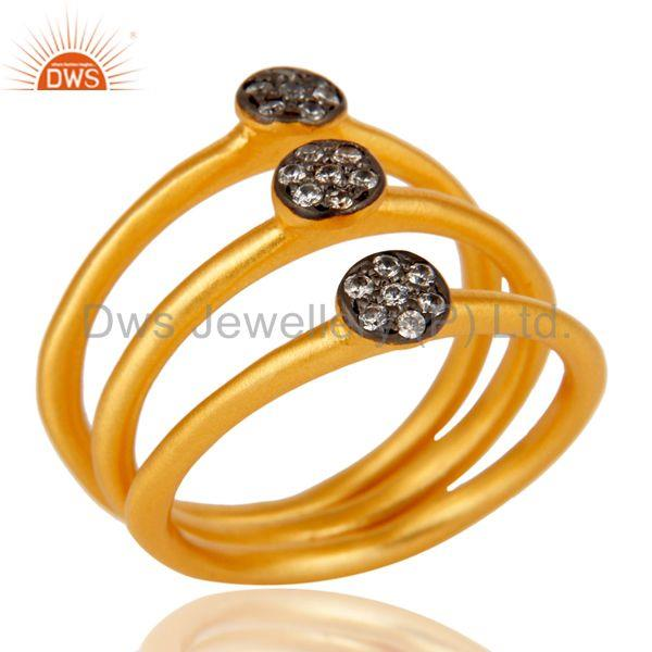 Fine Little Handmade 3 Set Brass Ring with 18k Gold Plated & Cubic Zarconia