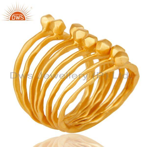 Traditional Handmade 18K Yellow Gold Plated 8 Set Of Brass Stackable Ring