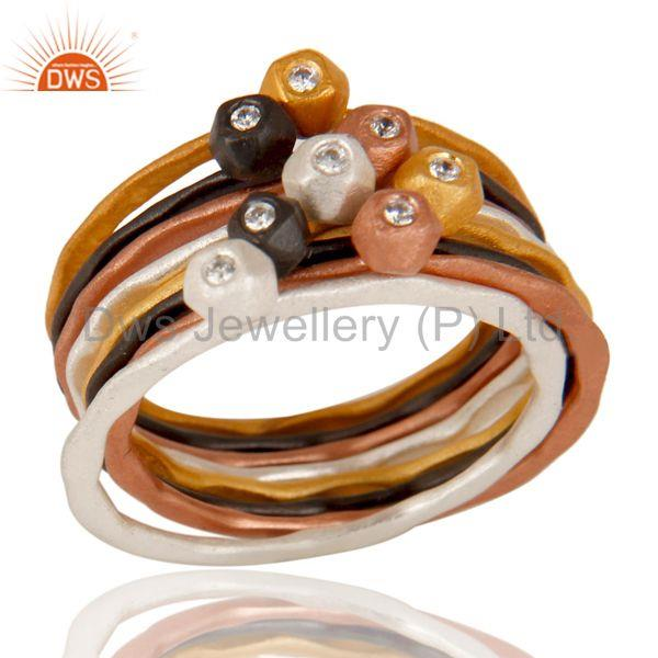 Multi Color Brass White Zircon Fashion Set of Eight Ring Jewelry