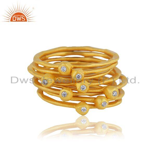 Handmade Gold Plated Silver CZ 8 Rings Set Jewelry Supplier