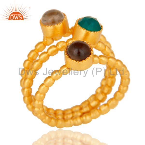 Crystal, Smokey & Green Onyx Three Set Brass Ring with 18k gold Plated