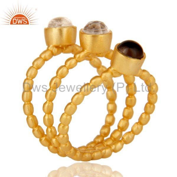 18K Gold Plated Smokey Topaz & Crystal Quartz 3 Set Of Brass Stackable Ring