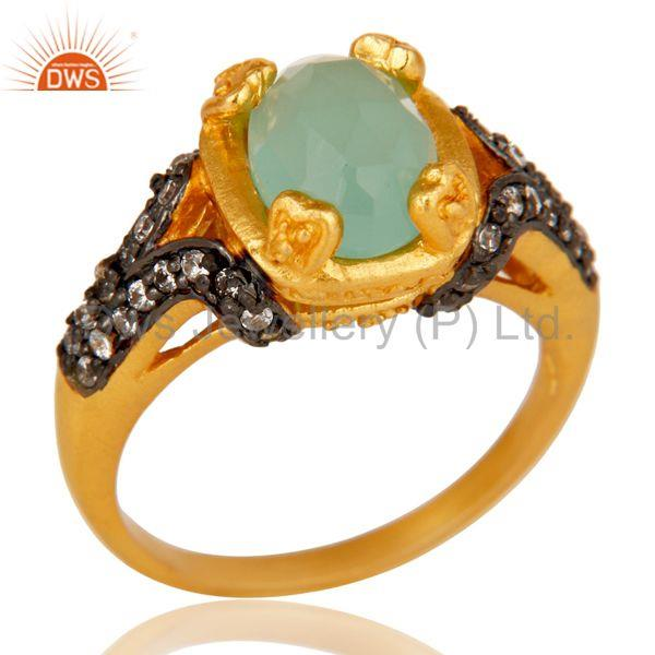 18k Gold Plated Handmade Stackable Brass Ring with Aqua & Cubic Zarconia