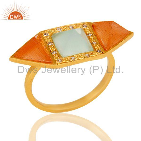 18k Gold Plated Fancy Brass Ring with Moonstone, Aqua & Cubic Zarconia