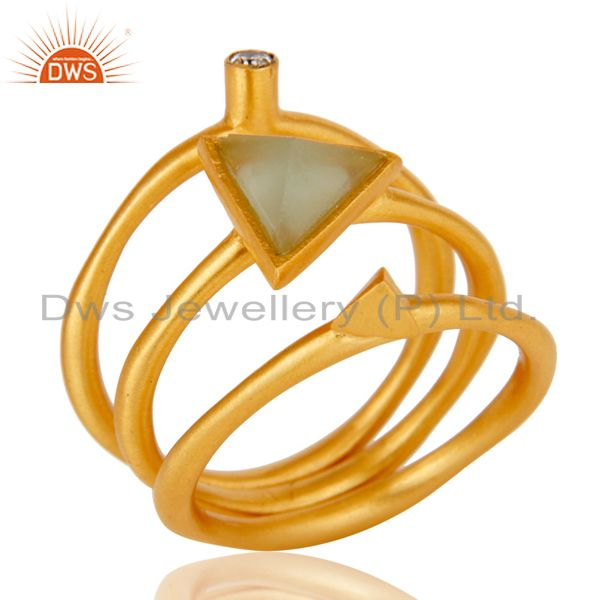 18K Yellow Gold Plated 3 Set Of Brass Ring Dyed Chalcedony & White Zirconia