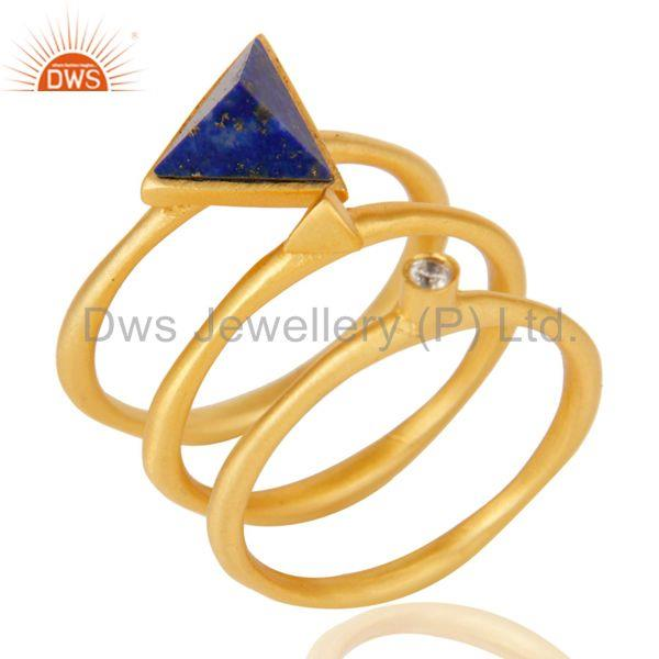 18K Gold Plated Lapis Lazuli & White Zirconia 3 Set Of Brass Stackable Ring