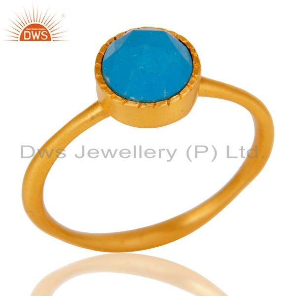 18k Gold Plated Little Anniversary Brass Ring with Turquoise