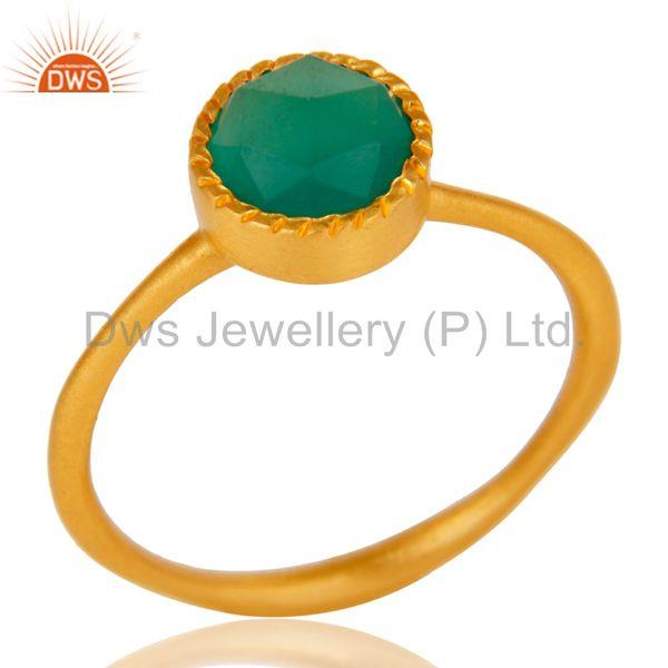 18k Gold Plated Little Anniversary Brass Ring with Green Onyx
