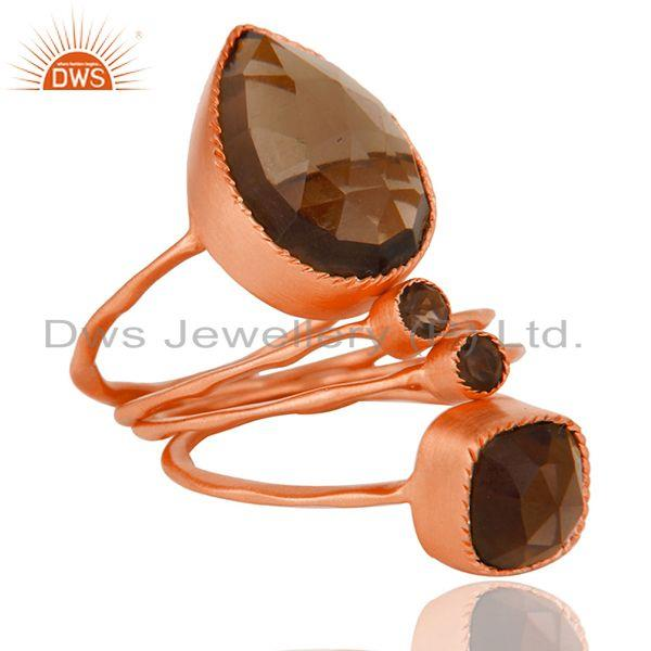 Handmade Rose Gold Plated Brass Fashion Smoky Ring Wholesaler India