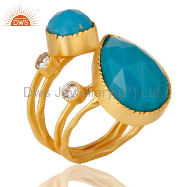 Turquoise Gemstone Gold Plated Brass Fashion Set of 4 Ring Jewelry