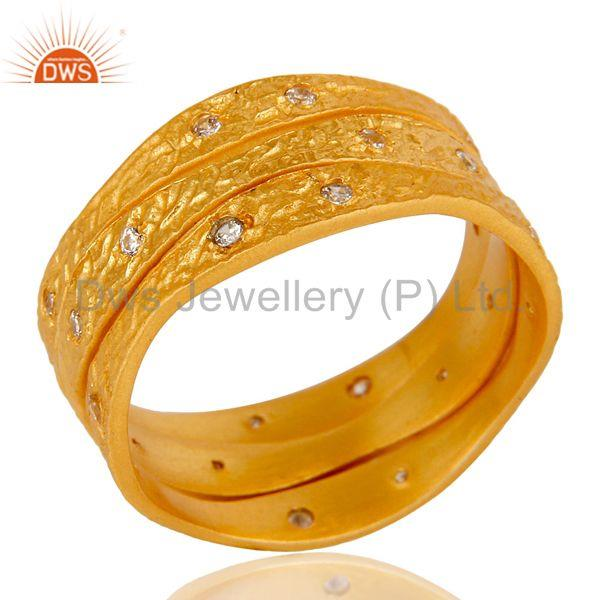 18k Yellow Gold Plated Fashion Charming 3 Set of Brass Band Ring