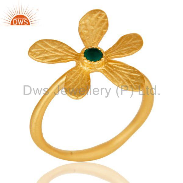 18k Yellow Gold Plated Handmade Flower Design Green Onyx Brass Stackable Ring