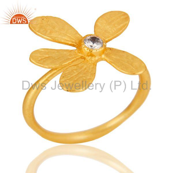 18k Yellow Gold Plated Handmade Flower Design White Zircon Brass Stackable Ring