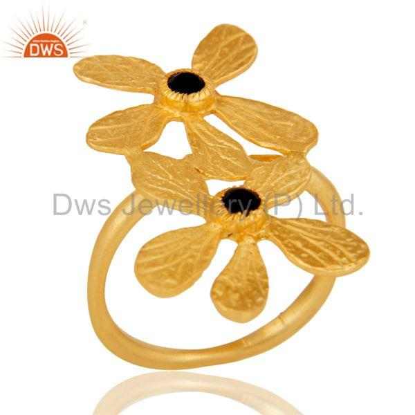 18k Yellow Gold Plated Handmade Double Flower Design Black Onyx Brass Ring