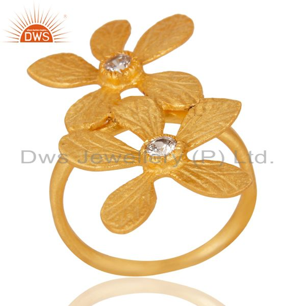18k Yellow Gold Plated Handmade Double Flower Design White Zircon Brass Ring
