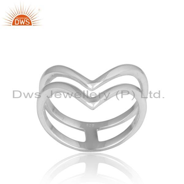 Heart Fine 925 Sterling Silver Double Band Statement Ring