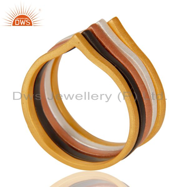 Chevron Stackable Five Ring Designer Mix Plating Fashion Jewelry