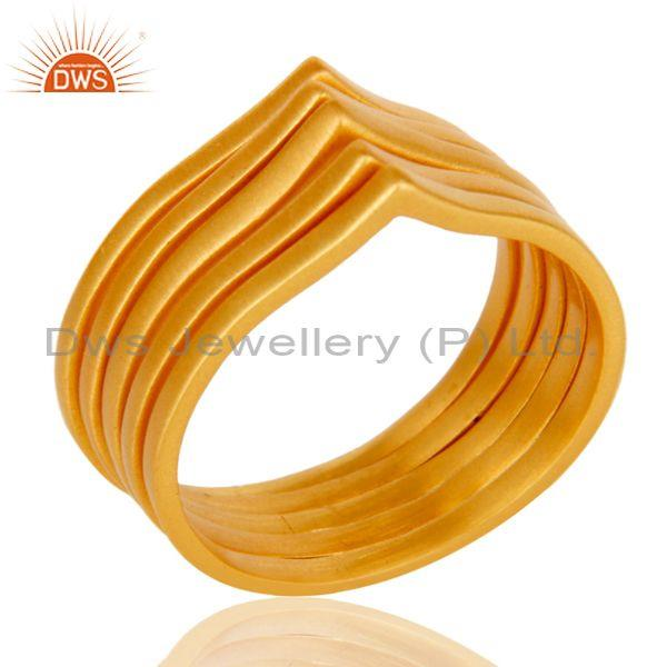 Chevron Stackable Five Ring Designer Gold Plated Fashion Jewelry