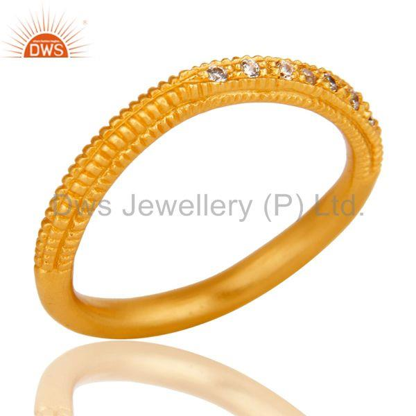 Traditional Handmade Engagement Brass Ring with 18k Gold Plated & CZ