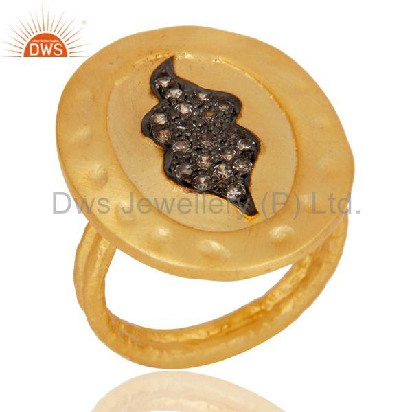 Handmade Painting White Zirconia Brass Cocktail Ring With 18k Yellow Gold Plated