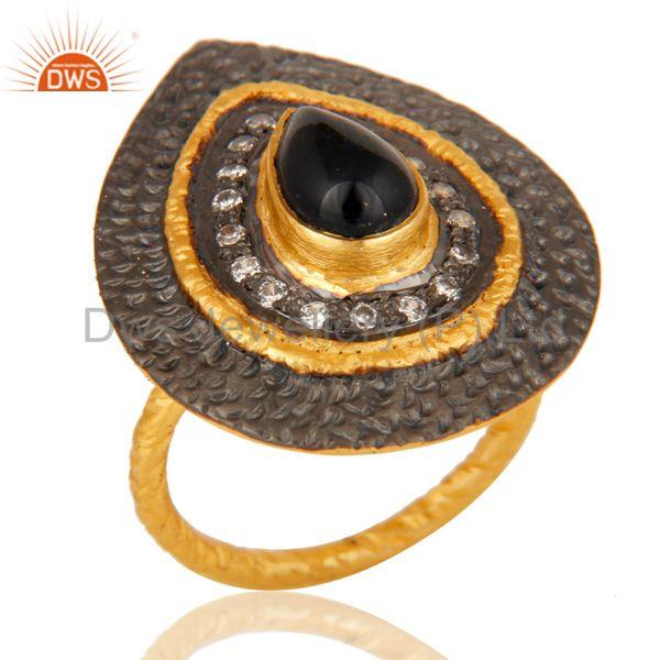 Cz Studded Designer Black Onyx Cocktail Fashion Ring