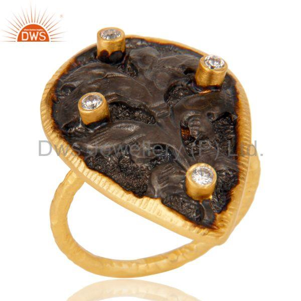 18K Gold Plated Handmade Rough Design White Zirconia Over Brass Dome Ring
