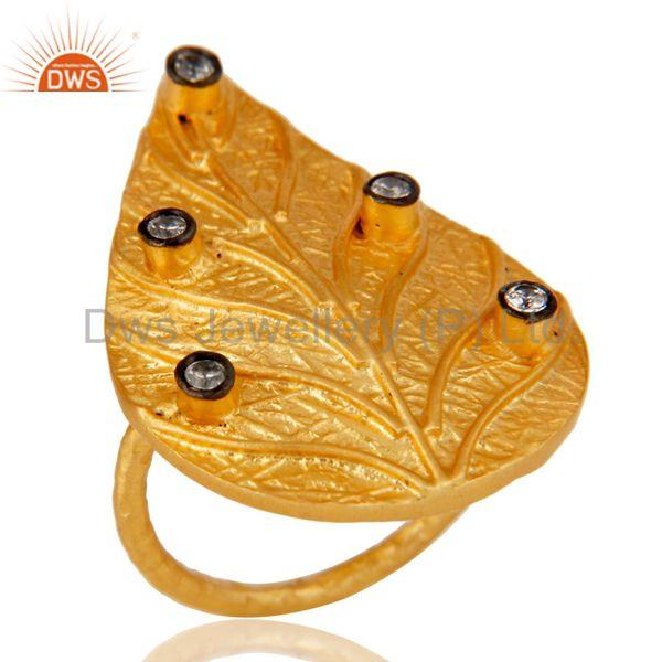 Traditional 22K Yellow Gold Plated Leaf Design White Zirconia Brass Ring