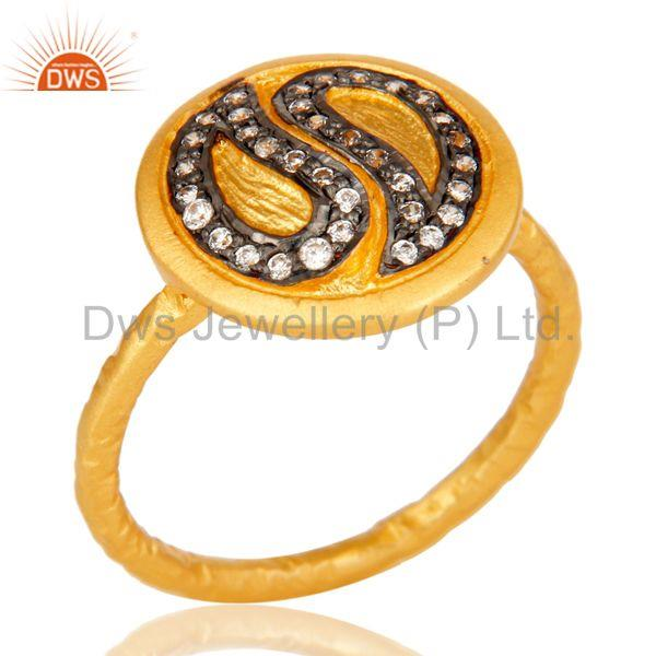 Handmade White Zircon Brass Stacking Ring with 18k Gold Plated