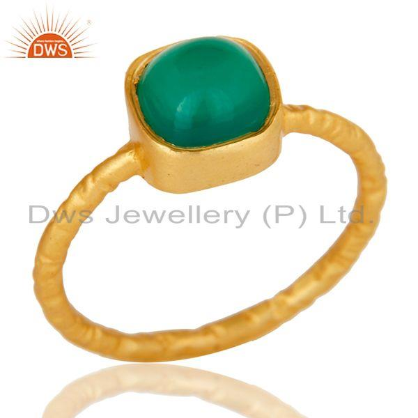 Green Onyx cushion Studded Designer Stackalble Fashion Ring