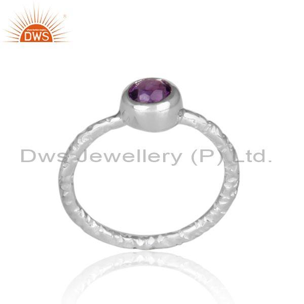 Handmade and hand hammered amethyst set fine 925 silver ring