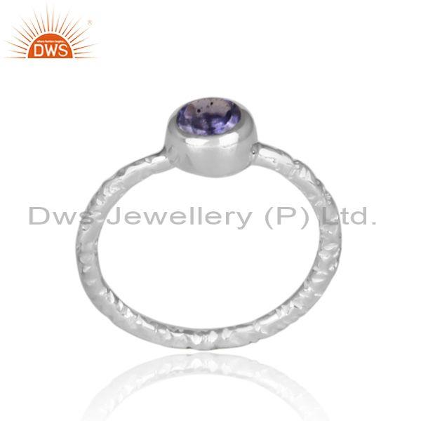 Handmade and hand hammered iolite set fine 925 silver ring