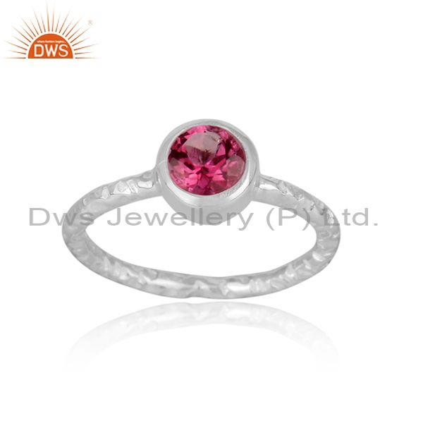 Handmade and hand hammered pink topaz set fine silver ring