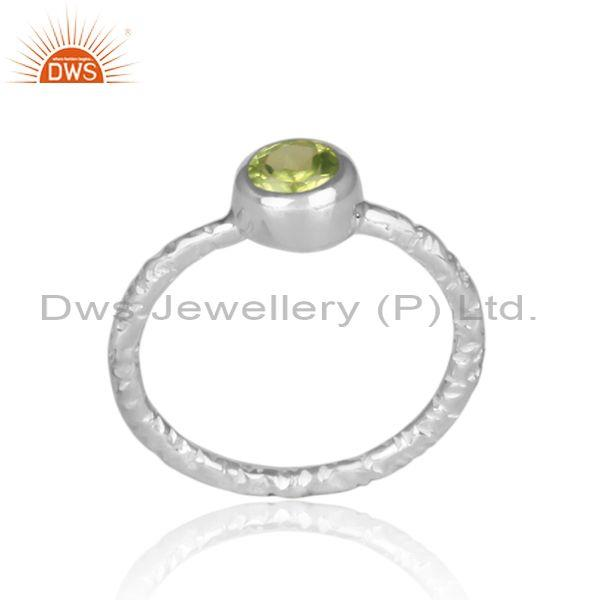 Handmade and hand hammered peridot set fine 925 silver ring