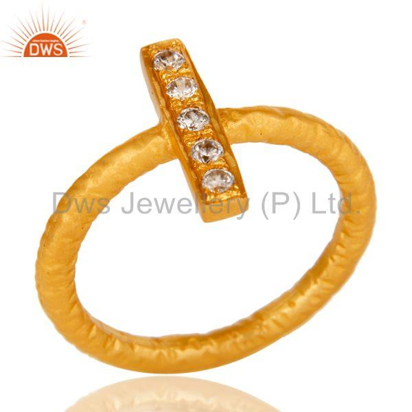 18k Gold Plated Handmade Brass Statement Ring with White Zircon