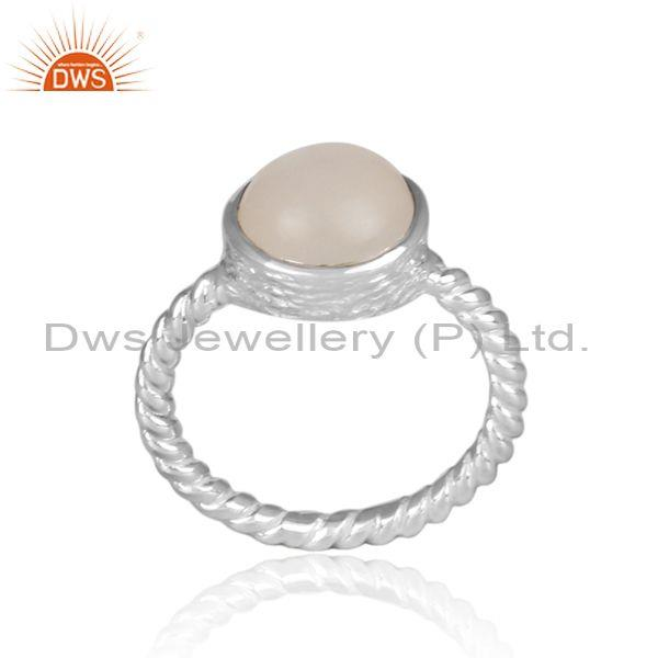White moon stone fine silver twisted classic statement ring