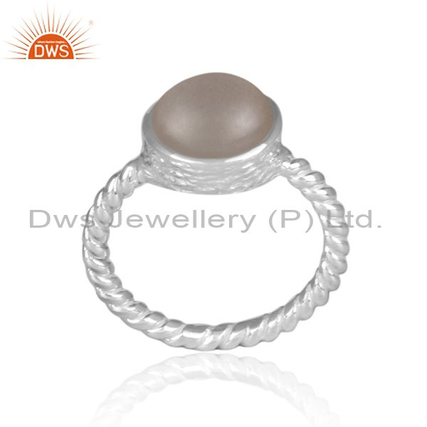 Gray moon stone fine silver twisted classic statement ring