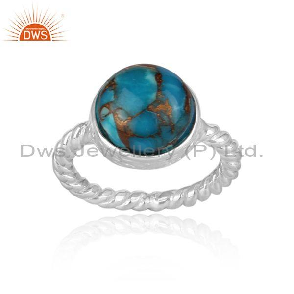 Mojave amazonite set fine 925 silver twisted statement ring