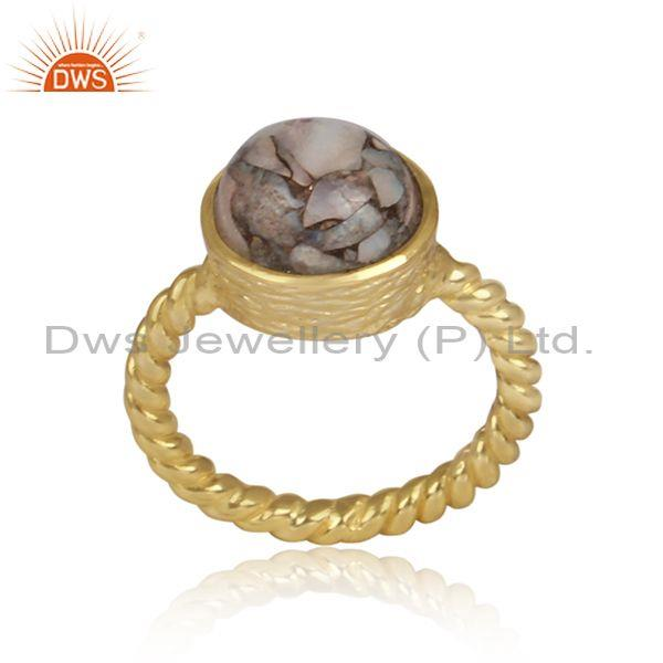 Mojave Opal Set Gold Silver Twisted Handmade Classic Ring