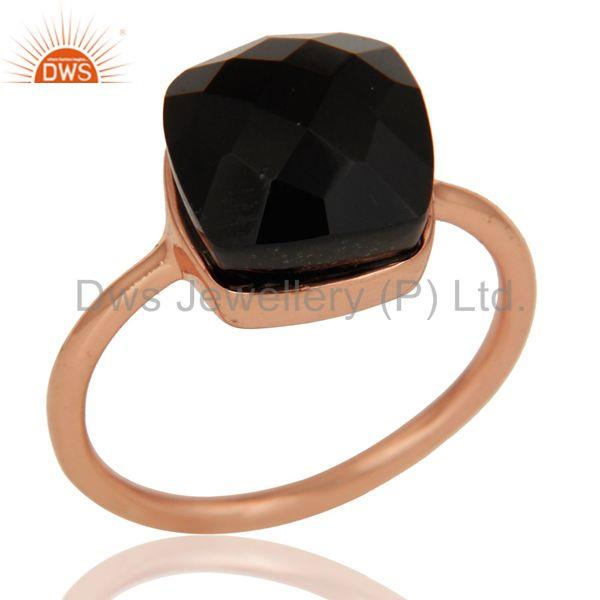 Black Onyx Studded Rose Gold Plated Statement Designer Fashion Ring
