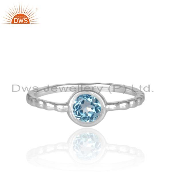 Round cut blue topaz set fine 925 silver hand hammered ring
