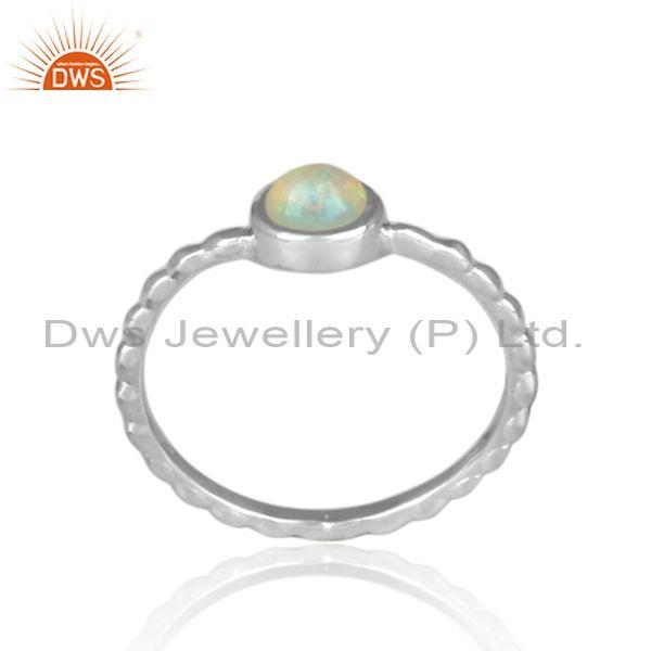 Ethiopian opal set fine silver handmade twisted fancy ring