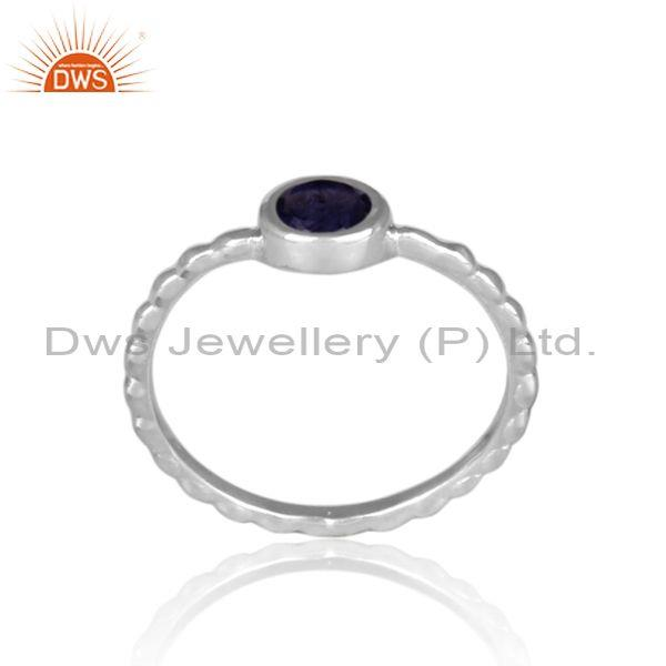 Round cut iolite set fine silver handmade twisted fancy ring